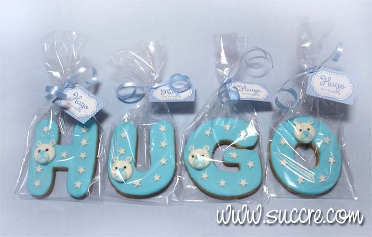 Hugo Letters Cookies - Name of cookies - Nombre de galletas: Hugo - Letras de galleta bebé - Bautizo - Tu nombre en galletas: Hugo