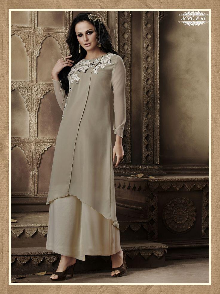 #Beige #Colour #Embroidery #Georgette #Stitched #Kurti  www.glamyshop.com