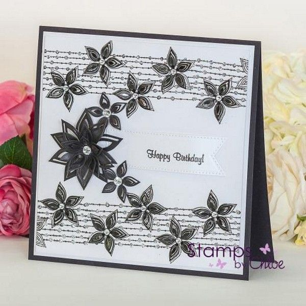 Stamps By Chloe - Beaded Flower Border - £5 Off Any 4 Chloe
