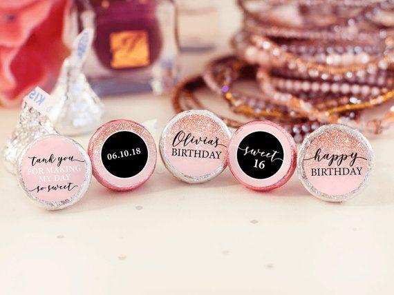 16th Birthday Hershey Kiss Labels Birthday Stickers Hershey Kiss Birthday Stickers Sweet 16 Birthday Stickers