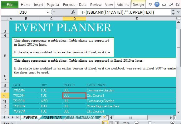 Community Events Planner for Excel Excel Templates Pinterest - excel break even analysis
