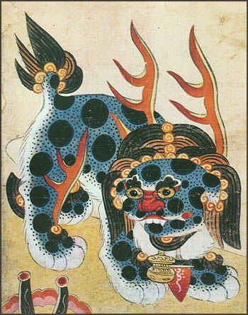 The Haetae Painting. 해태  The haetae is an imaginary beast which resembles a lion with small horns. The haetae was regarded as having supernatural powers to prevent such disasters as fires, and thus statues of haetaes were often installed at such places as the entrances to palaces.