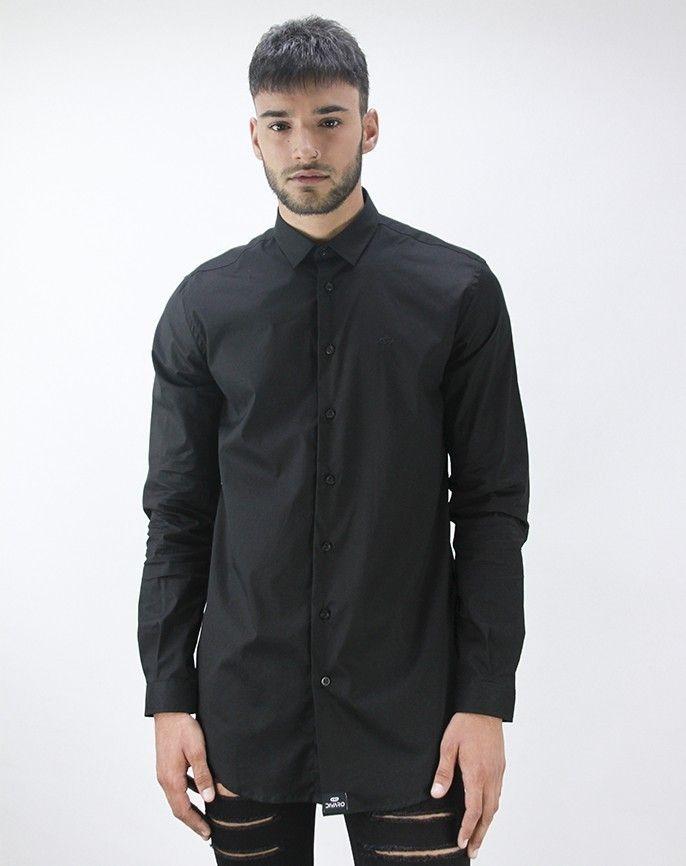 Y Negro Larga Color Hombre Detalles Cuello Italiano Camisa p64anqx