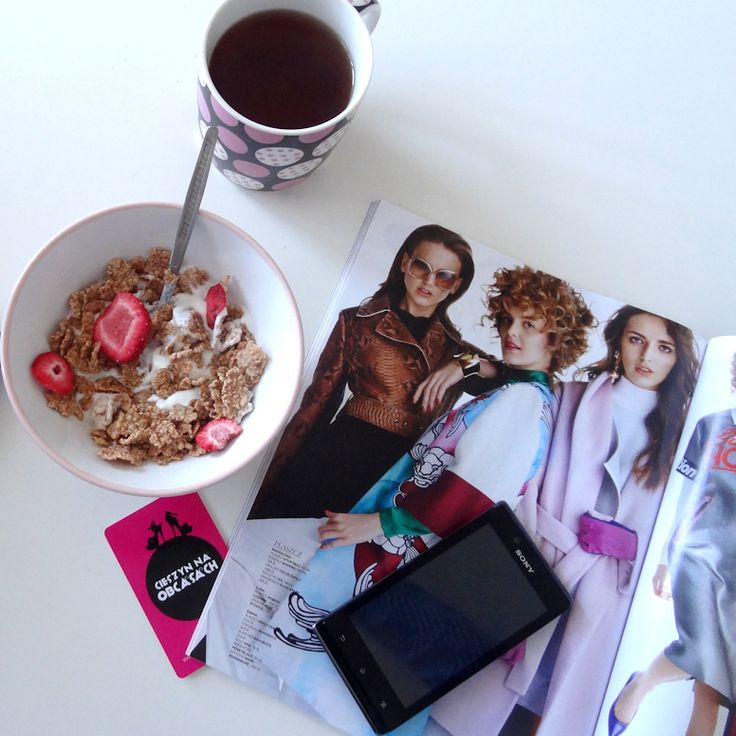 Breakfast coffee & magazine <3
