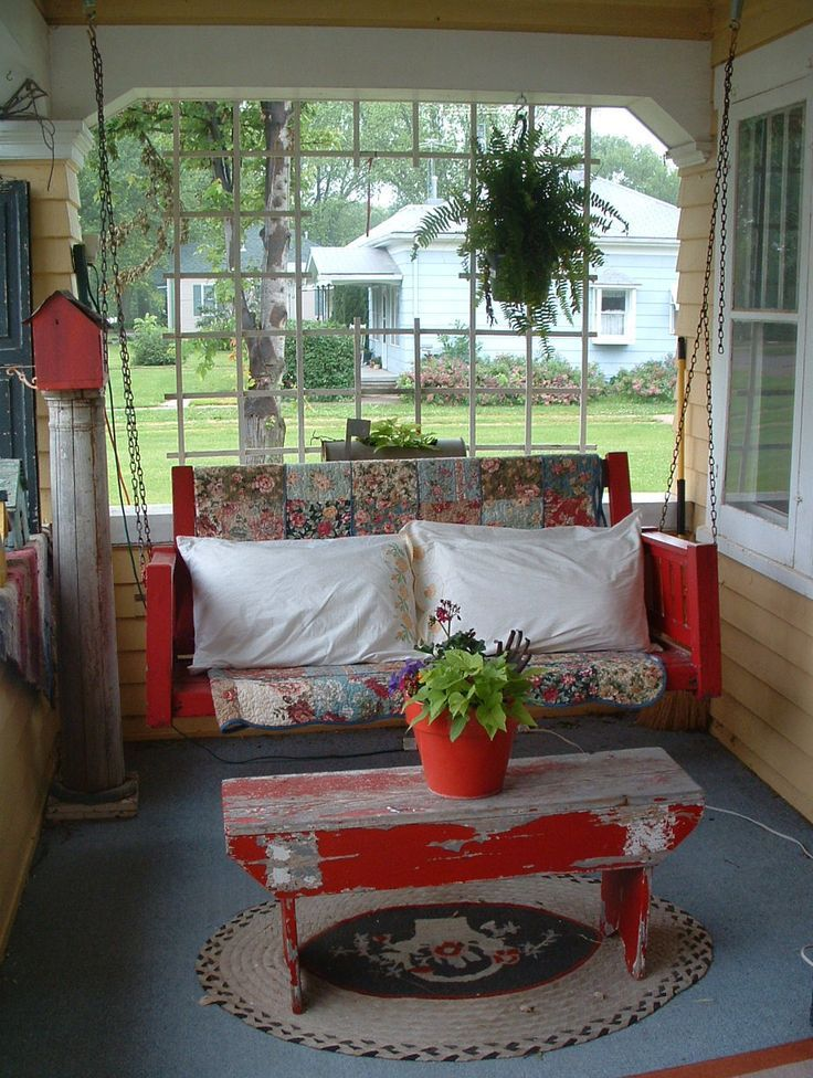 Image result for cottage front porch with swing decorating ideas