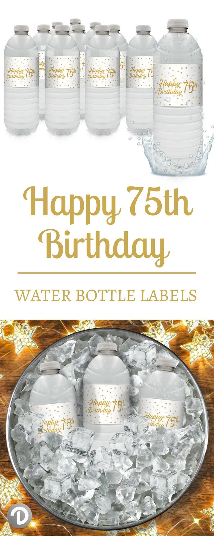 These white and gold75th BirthdayWater Bottle Labelsare the perfect refreshment decorations for your upcoming 75th birthday party. #whiteandgold #goldbirthday #75birthday #75th #partyidea #partydecor #whiteandgoldpartydecor