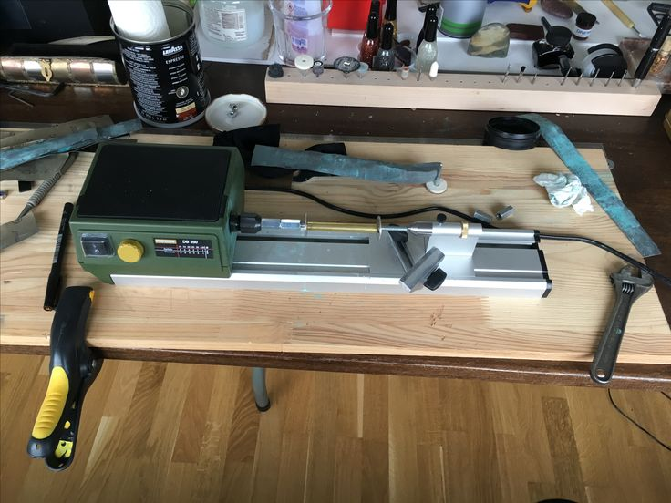The Proxxon DB 250 micro lathe i use for turning and sanding Polymer Clay Pens