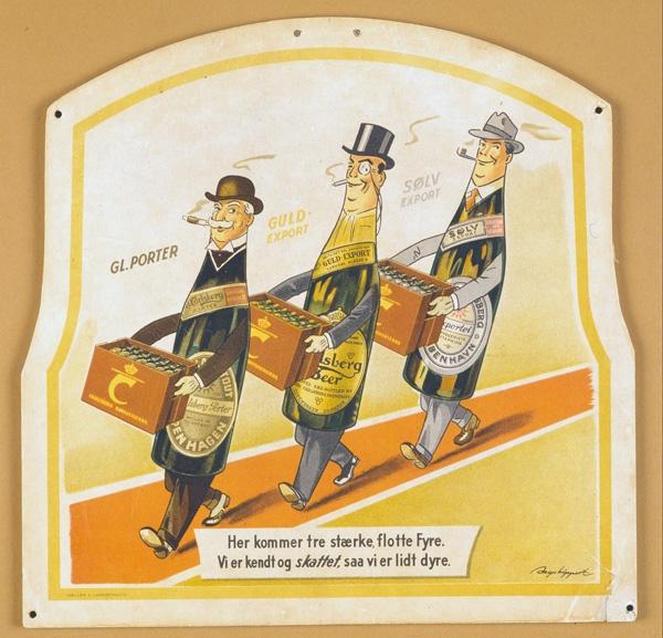 Carlsberg poster creating during World War II for the Danish market. 1940.