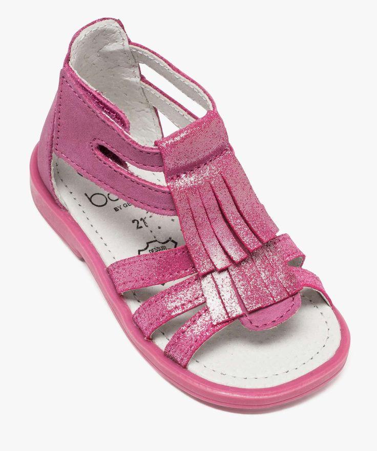 Sandalettes irisées en cuir Rose