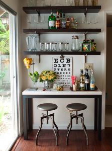 Home bar in a small space. Chic & cute! -- see, yes, I love this, but I have waaaaaaay more liquor than that and I don't want to store/stash it elsewhere!