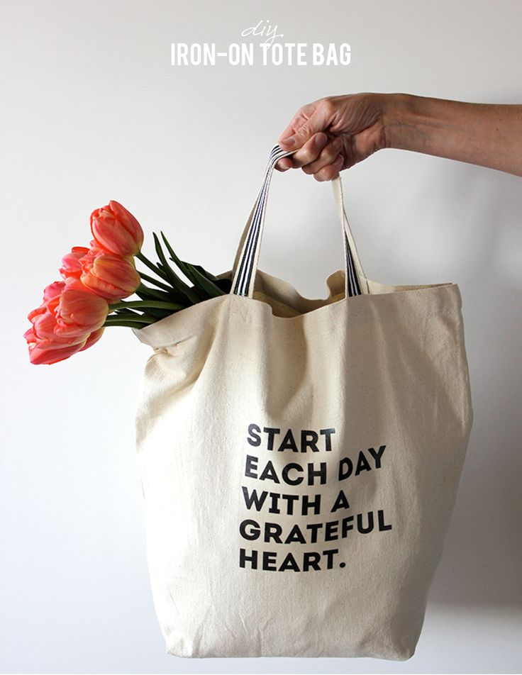 DIY tote bag with iron-on printable, Start Each Day With a Grateful Heart