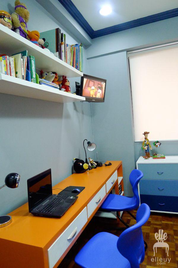 boys bedroom, blue bedroom, orange bedroom, kids room, decor me happy, elle uy, study desk