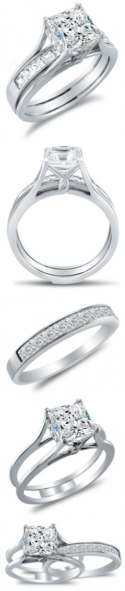 Size 9 - Solid 14k White Gold Bridal Set Princess Cut Solitaire Engagement Ring with Matching Channel Set Wedding Band Highest Quality CZ Cubic Zirconia 2.0ct.