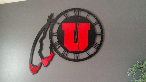 Utah Utes Handmade Metal Drum & Feather Clock by GSLMetalworks