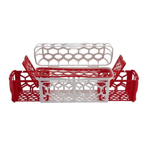Dishwasher Basket The new NUK® Dishwasher Basket offers 30% more space than other dishwasher baskets. It features a flexible design that expands or contracts to meet your needs. It's very versatile with dedicated space for bottles, nipples and straws and has maximum water flow-through for better cleaning.