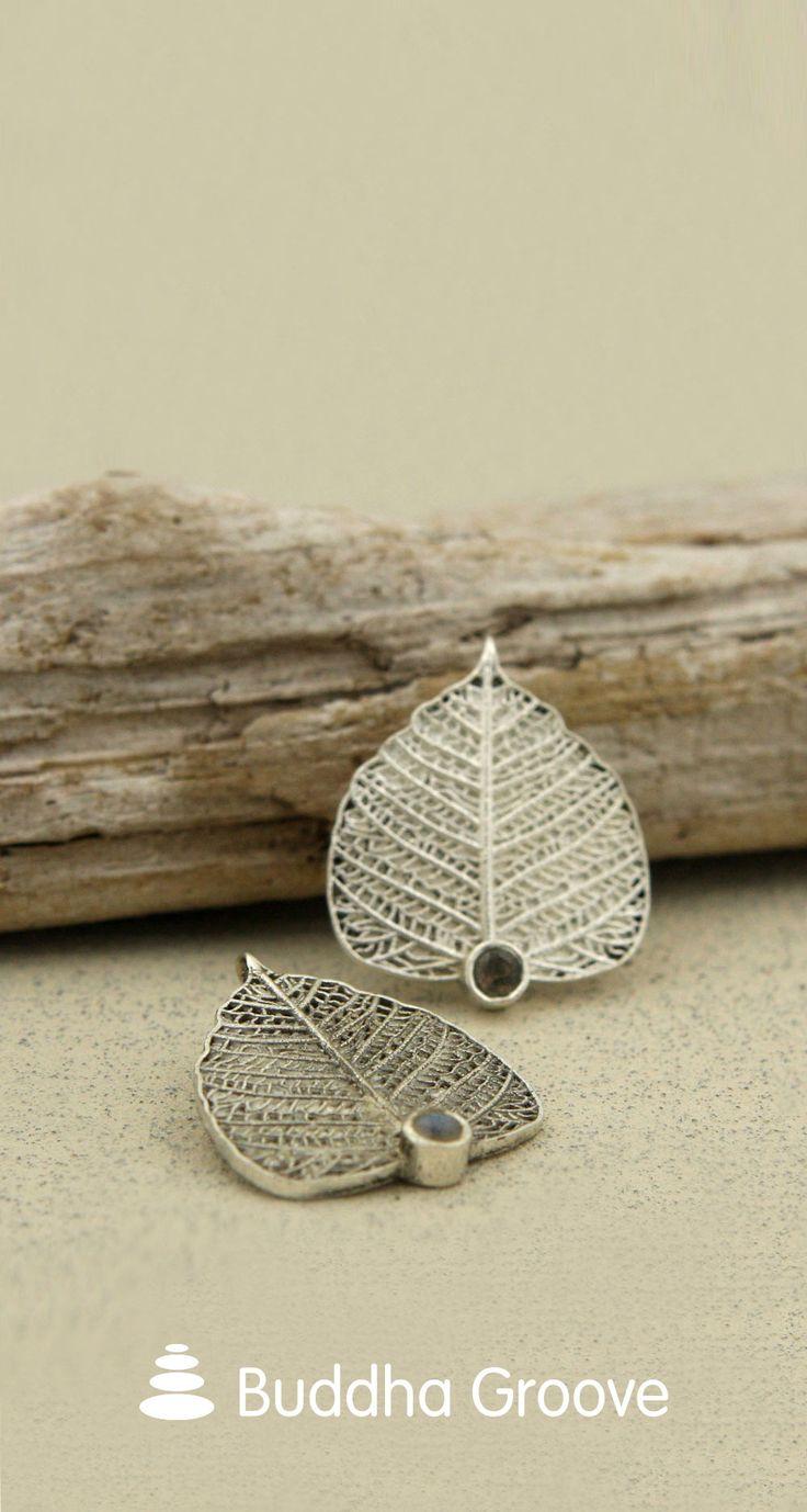Sterling Silver Bodhi Leaf Gemstone Pendant