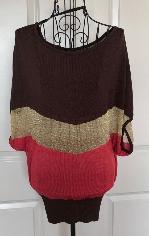 19d697076ebdc bebe Metallic Striped Knit Sweater Top Gold Red Cap Sleeve Stretch Size  Medium  bebe