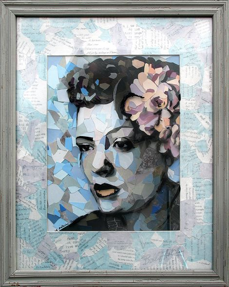 Collage portrait on glass of Billie Holiday in pastel colors. Mostly blues and grays. The painting's mat is comprised from the torn pieces of the Holiday's song lyrics.