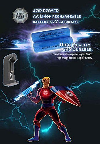 AOR POWER - 3.7 Volt 14500 1200mah Rechargeable Lithium Ion Battery with (1) Charger (2 Batteries) AOR POWER http://www.amazon.com/dp/B0148XT7A8/ref=cm_sw_r_pi_dp_EoZAwb10WWHSF