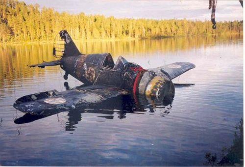Finish Brewster Buffalo recovered from russian lake. This plane was Finnished because it was Rushin' right into the lake.