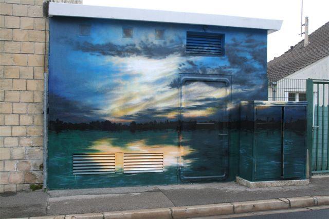 Wall in Beaumont sur Oise (France) / #sunrise #art #streetart #sketch #fredml #wall #yellow #blue