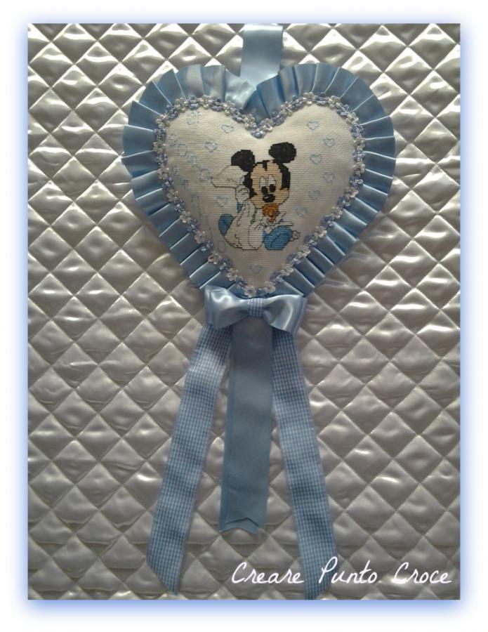 Coccarda/Fiocco nascita a cuore Topolino azzurro
