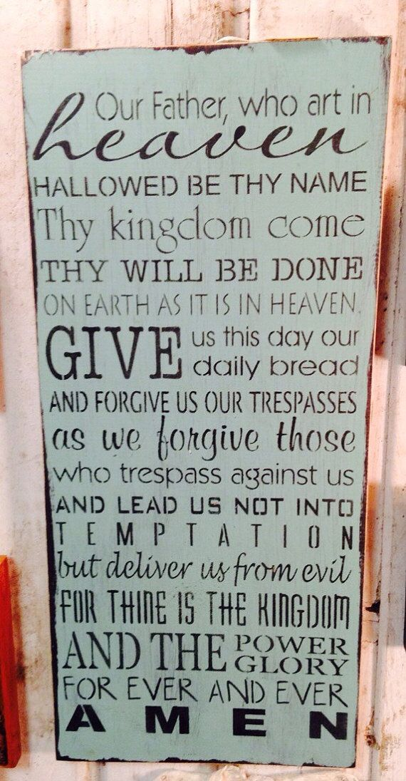 Handmade pine wood sign. Sign measures 12 X 26X 1. Sign features The Lords Prayer. It is made to order for you in the color you desire. The outside edges are painted black. And the entire sign will be sanded to distress it. This sign is done in blue. Since this sign is a special order item, please allow 3 weeks for delivery. Each sign is made using real pine boards and may contain knots or blemishes that are a natural and out of our control. We try to select wood that does not contain many…
