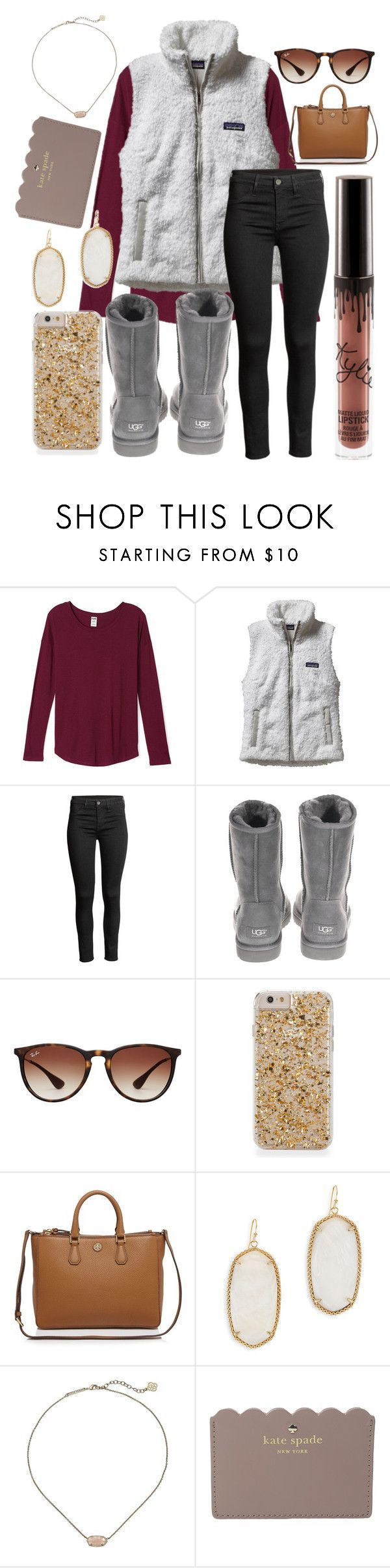 """""""It's the most wonderful time of the year❤️"""" by jadenriley21 ❤ liked on Polyvore featuring Patagonia, UGG Australia, Ray-Ban, Tory Burch, Kendra Scott and Kate Spade"""