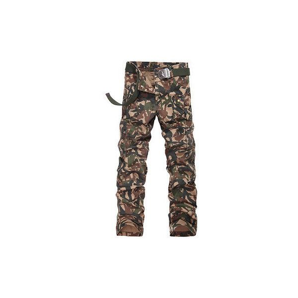 Casual  Muti-Pockets Loose Camouflage Cargo Pants Cotton Long Trousers... ($39) ❤ liked on Polyvore featuring men's fashion, men's clothing, men's pants, men's casual pants, men pants & shorts, white, mens zipper pants, mens white pants, mens zip off cargo pants and mens zip off pants