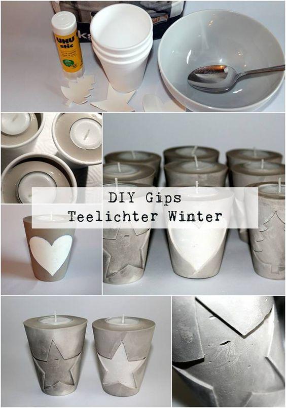 DIY Gips / Beton Teelichthalter Weihnachten ganz einfach selber machen