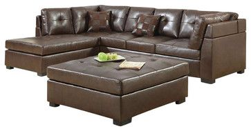 Coaster Darie Leather Sectional Sofa with Left-Side Chaise in Brown - transitional - Sectional Sofas - Cymax