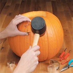 Hammer cookie cutters through your pumpkin instead of carving. What a great idea!