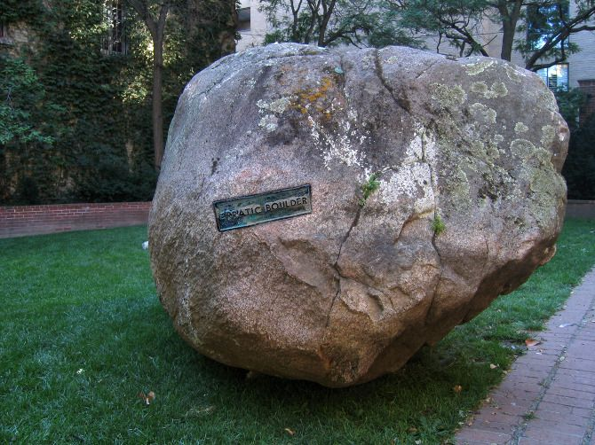 Maura Doyle, Erratic Boulder, glacial boulder & bronze plaque, 114 x 70 x 63 inches, 2004, Commissioned by the Toronto Sculpture Garden