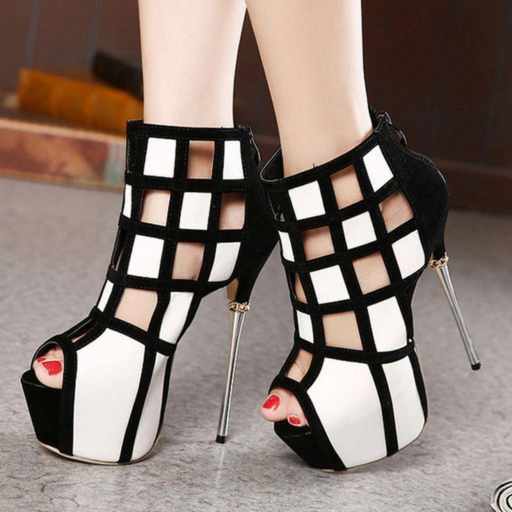 Shoespie Cut-outs Zipper Peep-toe Heels