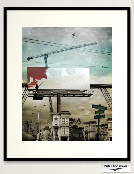 Post No Bills - a 3 print framed tryptic by Christopher Lielasus Morrow from the series Postcards from Delicious Empire