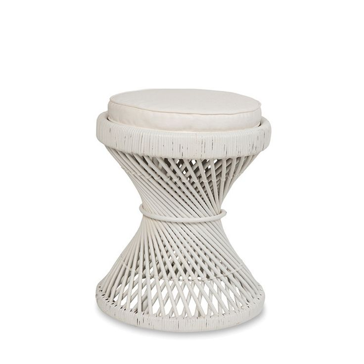 Peacock White Stool with Cushion by Citta Design   Citta Design