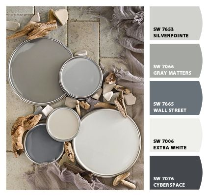 Looking for a warm #GrayPaint color? Here are five #SherwinWilliams colors to choose from.