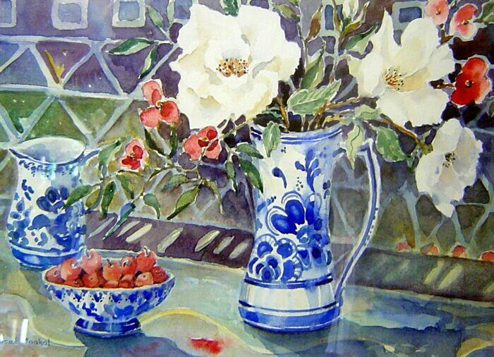 Still life with delft and roses by Suset Maakal