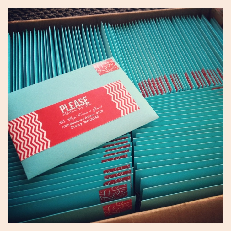 Red and Aqua #Chevron wedding invitations #weddinginvitations ...