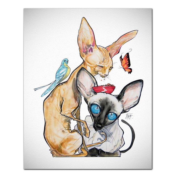Cat Caricature Fine Art Print - Birds & Butterflies – JohnLaFree.com