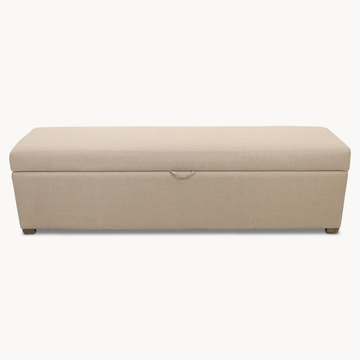 This simple, yet sophisticated ottoman is great when placed at the foot of a bed, providing an excellent storage solution for spare bedding and cushions. Upholstered in a soft cotton fabric.