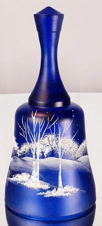 Fenton Hand Painted Moonlight Wonder on Cobalt Blue Glass Bell