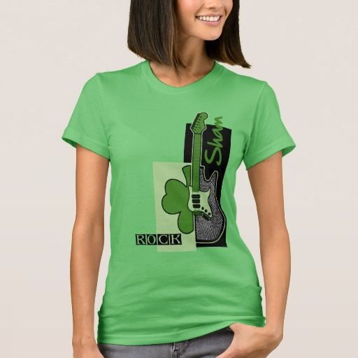 Sham Rock. Irish Rock Music Theme St.Patrick's Day / Any Irish Event T-Shirts and Sweatshirts. Matching cards, postage stamps and other products available in the Holidays / St. Patrick's Day Category of the Mairin Studio store at zazzle.com