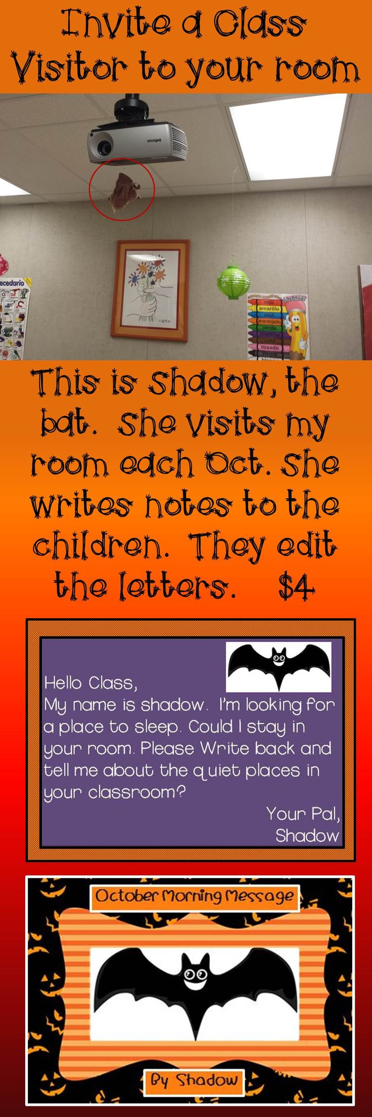 Your students will love editing the letters that Shadow writes for them each day.  She is looking for a quiet place to sleep.  Do you have one for her in your classroom?