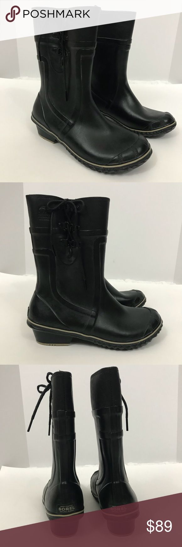 Sorel rain boots conquest Carly glow black 9.5 Beautiful rain boots in perfect condition. Worn only a few times. Non smoking home. No stains and no tears . Sorel Shoes Winter & Rain Boots