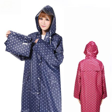 EVA Waterproof Raincoat Women Dot Fashion Long Ladies Raincoat Over Knee With Hood And Packing Pouch Pocket Poncho Coat Rainwear