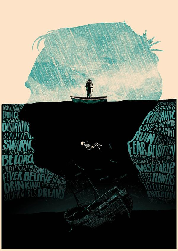 BLISTERS! 2014 - Peter Strain Illustration. I really like this poster as it combines the sea and the head- Using words for the waves.