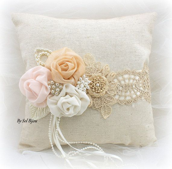 Anillo de bodas almohada champán Tan marfil Blush cojín