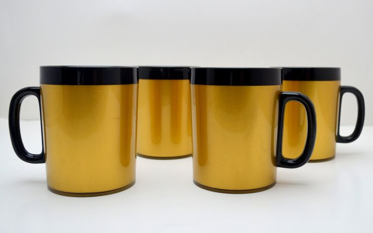 Set of 4 Vintage Coffee Mugs, West Bend Thermo Serv Gold and Black Insulated Coffee Cups, 1970s by UpswingVintage on Etsy