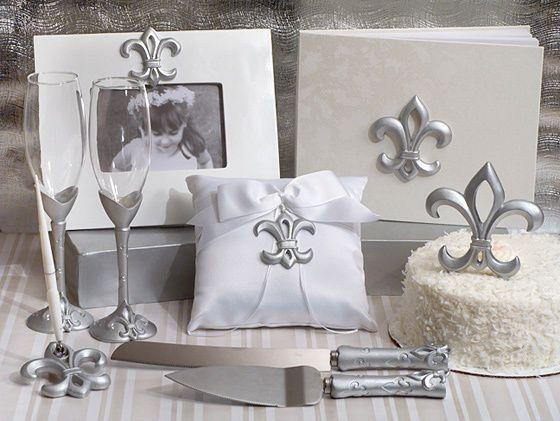 Silver Fleur De Lis Guest Book Cake Topper Ring Pillow Wedding Accessory Set
